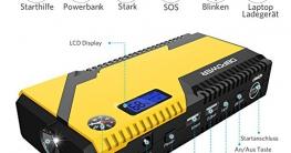 500A Spitzenstrom 12000mAh Tragbare Auto Starthilfe Autobatterie Anlasser, Externer Akku Ladegerät mit Kompas, LCD Display und LED Taschenlampe für Laptop, Smartphone, Tablet und vieles mehr - 2