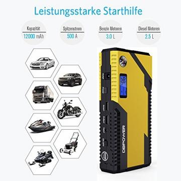 500A Spitzenstrom 12000mAh Tragbare Auto Starthilfe Autobatterie Anlasser, Externer Akku Ladegerät mit Kompas, LCD Display und LED Taschenlampe für Laptop, Smartphone, Tablet und vieles mehr - 3