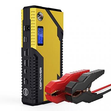 500A Spitzenstrom 12000mAh Tragbare Auto Starthilfe Autobatterie Anlasser, Externer Akku Ladegerät mit Kompas, LCD Display und LED Taschenlampe für Laptop, Smartphone, Tablet und vieles mehr - 1