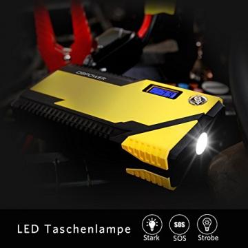 500A Spitzenstrom 12000mAh Tragbare Auto Starthilfe Autobatterie Anlasser, Externer Akku Ladegerät mit Kompas, LCD Display und LED Taschenlampe für Laptop, Smartphone, Tablet und vieles mehr - 5