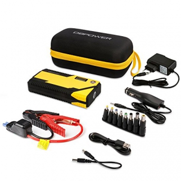 500A Spitzenstrom 12000mAh Tragbare Auto Starthilfe Autobatterie Anlasser, Externer Akku Ladegerät mit Kompas, LCD Display und LED Taschenlampe für Laptop, Smartphone, Tablet und vieles mehr - 7