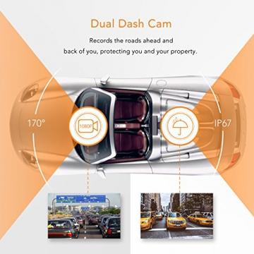 APEMAN C550 Autokamera Dashcam Full HD versteckte DVR Dual Lens 170 ° Weitwinkelobjektiv GPS kompatibel mit G-Sensor, Automatische Loop-Zyklus Aufnahme, Bewegungserkennung - 2