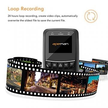 APEMAN C550 Autokamera Dashcam Full HD versteckte DVR Dual Lens 170 ° Weitwinkelobjektiv GPS kompatibel mit G-Sensor, Automatische Loop-Zyklus Aufnahme, Bewegungserkennung - 4