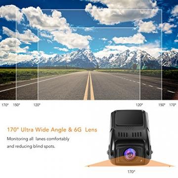 APEMAN C550 Autokamera Dashcam Full HD versteckte DVR Dual Lens 170 ° Weitwinkelobjektiv GPS kompatibel mit G-Sensor, Automatische Loop-Zyklus Aufnahme, Bewegungserkennung - 5