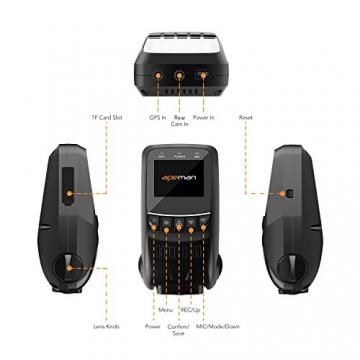 APEMAN C550 Autokamera Dashcam Full HD versteckte DVR Dual Lens 170 ° Weitwinkelobjektiv GPS kompatibel mit G-Sensor, Automatische Loop-Zyklus Aufnahme, Bewegungserkennung - 9