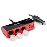 BESTEK 3 Fach Zigarettenanzünder Verteiler Adapter, 4 USB Ports Ladegerät für Smartphone Tablet PC, 12/24V DC, Rot - 1