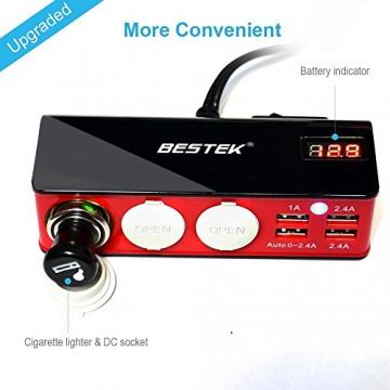 BESTEK 3 Fach Zigarettenanzünder Verteiler Adapter, 4 USB Ports Ladegerät für Smartphone Tablet PC, 12/24V DC, Rot - 5