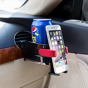 BESTEK Multifunktion Getränkehalter Lüftungshalterung Handyhalterung,geeingnet für alle Iphone / Nokia / Samsung / Huawei / Xiaomi / Gigaset,Rot - 3