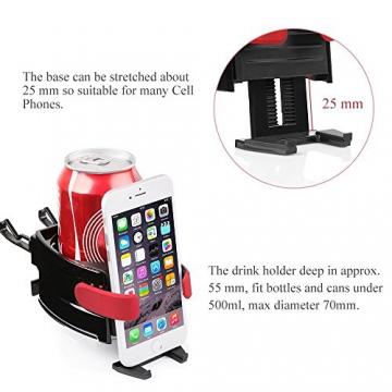 BESTEK Multifunktion Getränkehalter Lüftungshalterung Handyhalterung,geeingnet für alle Iphone / Nokia / Samsung / Huawei / Xiaomi / Gigaset,Rot - 5