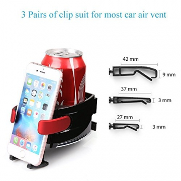 BESTEK Multifunktion Getränkehalter Lüftungshalterung Handyhalterung,geeingnet für alle Iphone / Nokia / Samsung / Huawei / Xiaomi / Gigaset,Rot - 6