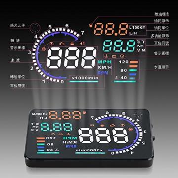 BLESYS - 5,5 Zoll Multi-Color HUD Head-Up Display im Auto beschäftigen Nano-Technologie für die Abnahme und die Glare Clear Display ohne Reflection Film, nur arbeiten mit OBD OBD2 & EOBD Auto - 2