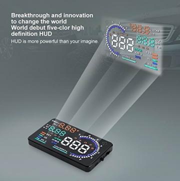 BLESYS - 5,5 Zoll Multi-Color HUD Head-Up Display im Auto beschäftigen Nano-Technologie für die Abnahme und die Glare Clear Display ohne Reflection Film, nur arbeiten mit OBD OBD2 & EOBD Auto - 3