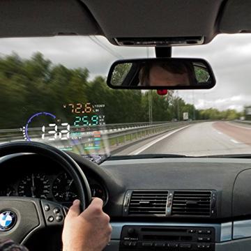 BLESYS - 5,5 Zoll Multi-Color HUD Head-Up Display im Auto beschäftigen Nano-Technologie für die Abnahme und die Glare Clear Display ohne Reflection Film, nur arbeiten mit OBD OBD2 & EOBD Auto - 1