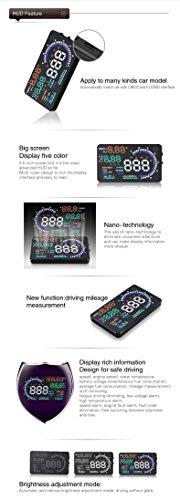 BLESYS - 5,5 Zoll Multi-Color HUD Head-Up Display im Auto beschäftigen Nano-Technologie für die Abnahme und die Glare Clear Display ohne Reflection Film, nur arbeiten mit OBD OBD2 & EOBD Auto - 8