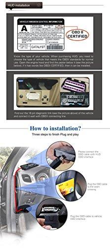 BLESYS - 5,5 Zoll Multi-Color HUD Head-Up Display im Auto beschäftigen Nano-Technologie für die Abnahme und die Glare Clear Display ohne Reflection Film, nur arbeiten mit OBD OBD2 & EOBD Auto - 9