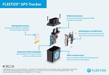 FLEETIZE Elektronisches Fahrtenbuch, Finanzamtkonform, GPS Tracker mit EU-SIM-Karte, Fahrtenschreiber, OBD2-Betrieb am PKW und LKW, integrierter Sabotageschutz, vollautomatisch, flottenfähig, kabellos - 3