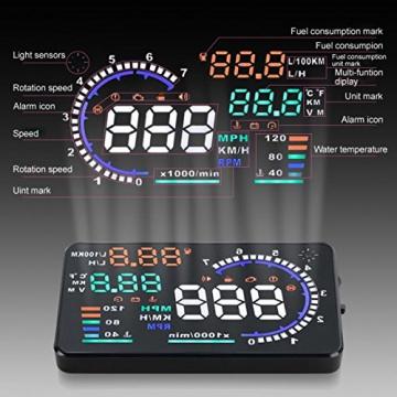 kkmoon A8HUD 5.5 Zoll-Auto-HUD Kopf Oben OBD2 OBDII Kraftstoffverbrauch - 7
