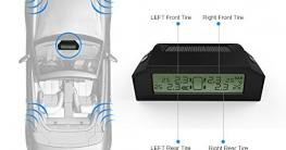 Reifendruckkontrollsystem, CARCHET TPMS Reifendruckmesser Reifendruckkontrolle mit 4 Sensoren, Reifendruck-und Temperatur anzeigen + intern Solarzelle für Wohnmobil, Auto, KFZ usw - 4