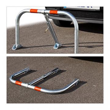 Relaxdays Parkplatzsperre klappbar, Sperrbügel mit Vorhängeschloss & 3 Schlüsseln, Metall, HBT: 45 x 76 x 32 cm, silber - 2