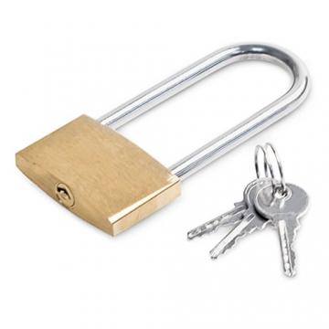 Relaxdays Parkplatzsperre klappbar, Sperrbügel mit Vorhängeschloss & 3 Schlüsseln, Metall, HBT: 45 x 76 x 32 cm, silber - 7