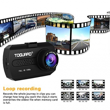 TOGUARD Mini 1080P Auto Kamera Dashcam DVR Recorder Eingebauter G-Sensor Bewegungserkennung Loop Recorder Nachtsicht (SD Karte ist Nicht Enthalten) - 3