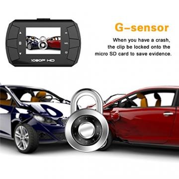TOGUARD Mini 1080P Auto Kamera Dashcam DVR Recorder Eingebauter G-Sensor Bewegungserkennung Loop Recorder Nachtsicht (SD Karte ist Nicht Enthalten) - 4