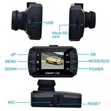 TOGUARD Mini 1080P Auto Kamera Dashcam DVR Recorder Eingebauter G-Sensor Bewegungserkennung Loop Recorder Nachtsicht (SD Karte ist Nicht Enthalten) - 6